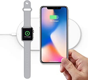 2 in 1 Wireless Charger, EURPMASK Wireless Charging Pad Qi Fast Wireless Charger Compatible for Apple Watch Series 5/4/3/2/1 iPhone 11/11 Pro/11 Pro Max/XR/X/8 Plus/8 Galaxy Note 9/8 and More