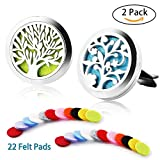 2 Pack Aromatherapy Essential Oil Car Diffuser with 22 Replacement Felt Pads — Stainless Steel Air Freshener Locket Car Diffuser Vent Clip,Tree and Cloud Tree