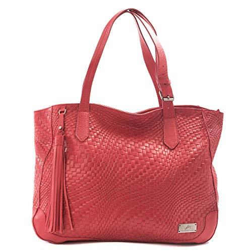 VELEZ 25707 Genuine Colombian Leather Designer Tote Handbags | Zip Carryall Shopper Bags for Women | Carteras y Bolsos de Cuero Colombiano para Mujer Red/Rojo (Leather Zip Shopper)