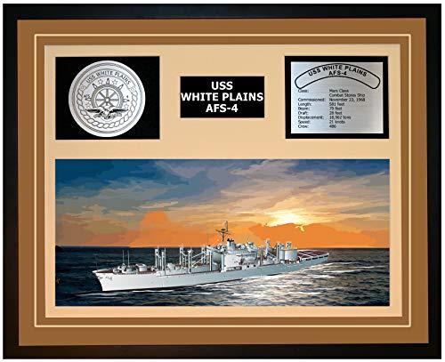 Navy Emporium USS White Plains AFS 4 Framed Navy Ship Display Brown