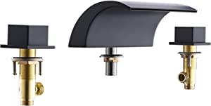 VALISY Modern Matte Black Waterfall Roman Bathtub Faucet, 2-Handle 3-Hole Widespraed Hot Tub Faucet Set Deck Mount Bathroom Garden RV Tub Filler with Solid Brass Valve and Hot & Cold Water Hoses