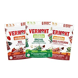 Vermont Smoke & Cure Mini Meat Sticks - Antibiotic Free Beef, Pork and Turkey - Gluten Free Snack - Paleo and Keto Friendly - Variety Pack, .5oz Jerky Stick, 6 Count Go Pack, Pack of 3