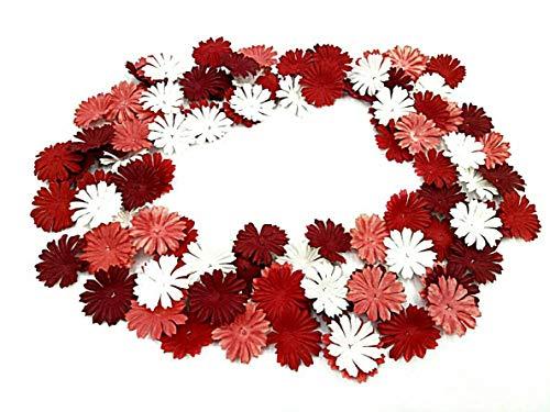 Paper Flower Embellishments (NAVA CHIANGMAI 100 pcs Daisy Mulberry Paper Flower Petals Artificial Craft Scrapbooking Embellishment,Wedding Supply Accessory DIY,Assorted Color Petal Flower (Red))
