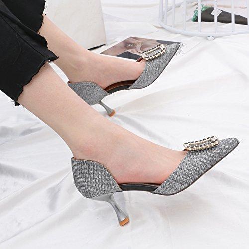 GTVERNH-Stilvolle Tipps Übungen Party 6 cm High Heels Frauen Sexy Und Hohlen Flach Dünn Wie Ol Einzelne Schuhe