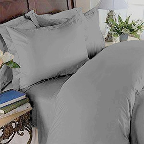 100% Cotton- Duvet Cover Set with Buttons Enclosure, 300TC - Solid Grey, Full/Queen, 3PC Duvet Covers