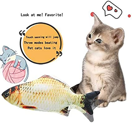 Pellorryxn Cat Toy Electric Fish Automatic Simulation Fish Will Beat Cat interactive Toys
