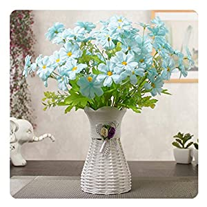LuckySHD Artificial Floral Fake Begonia Flowers with Vase for Home Decoration 105
