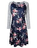 AMZ PLUS Plus Size Women Bracelet Sleeve Striped Floral Print Casual Mini Shift T-Shirt Dress Deep Royal Blue XL