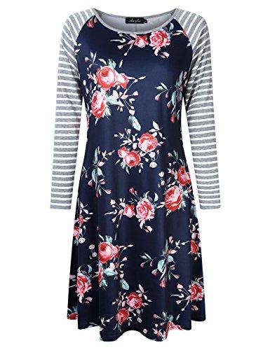 AMZ PLUS Plus Size Women Bracelet Sleeve Striped Floral Print Casual Mini Shift T-Shirt Dress
