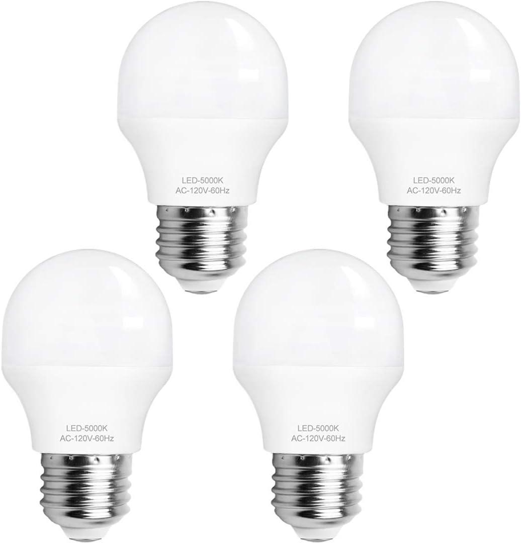 LED Light Bulb 40W Equivalent, 4W A15 Appliance Bulbs 5000K Daylight E26 Medium Base 120V 420 Lumens for Fridge and Ceiling Fan, Pack of 4