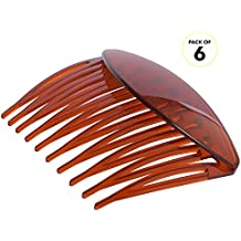 RC ROCHE ORNAMENT Womens Hair Side Slide Comb Wide Teeth Plastic Strong Solid Plain Bridal Pin Fashion Ladies Girl Clamp Styling Accessories Clip, 6 Pack Count Large Brown