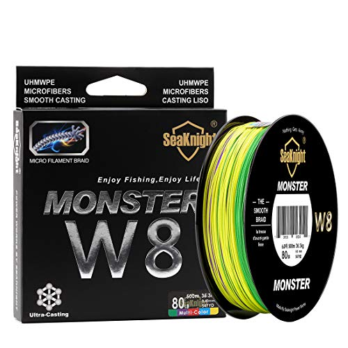 Sea Monster Green - SeaKnight Monster W8 Braided Lines 8 Strands Weaves 500M/547Yards Super Smooth PE Braided Multifilament Fishing Lines for Sea Fishing Low-Vis Green 30LB