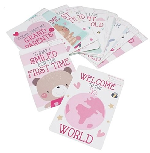 Star Online Baby Girl Moment Cards pack of 30- Great Gift for Baby Showers or New Parents to capture each newborns milestones