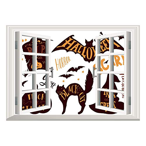SCOCICI Creative Window View Home Decor/Wall Décor-Vintage Halloween,Halloween Symbols Trick or Treat Bat Tombstone Ghost Candy Scary Decorative,Dark Brown Orange/Wall Sticker Mural