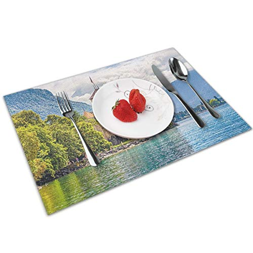 Joseph Placemats Washable Dining Table Place Mats Heat Insulation Stain Resistant(Set of 4) Lake Geneva Switzerland (Table Geneva Dining)