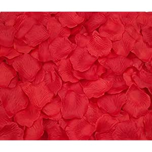 CO-RODE Wedding Decoration Silk Rose Petals Artificial Flower Pack of 4000 Red 4