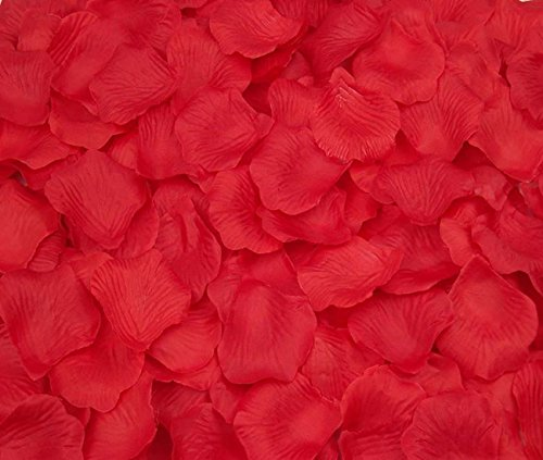 CO-RODE Wedding Decoration Silk Rose Petals Artificial Flower Pack of 4000 Red - Red Scatter Petals