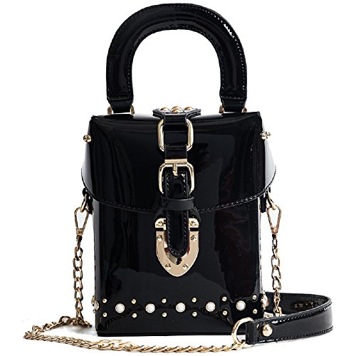 en Simple ZHRUI Femme Mode épaule Noir Diagonale Diamants Sac Mini de Verni Sac Cuir q44txnAT
