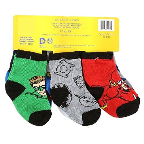 Justice League Batman Superman Baby Socks, 6 Pack (Size: 0-6 mo. / Shoe Size: 1-2, Multicolor)