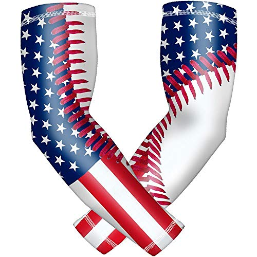 Dovick Sports Compression Sleeve Arm Flag Baseball Style 2pcs/Pack Youth & Adult 6 Sizes Football Basketball Sports (Red-Blue-White Baseball Thread, - Sleeves Baseball Arm
