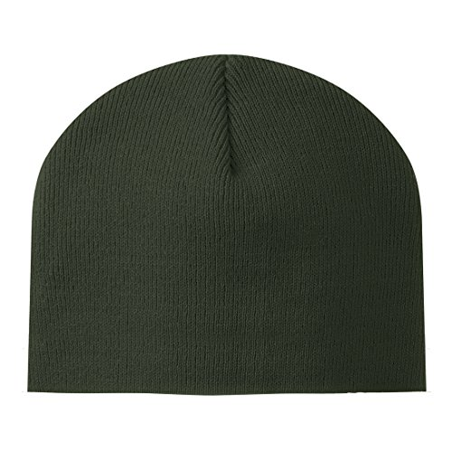 (Promote Your Team Custom UnCuffed Knit Hat/Cap (Set of 250) Perfect Accessory For Sports Merchandising Made In The USA (Olive Green))