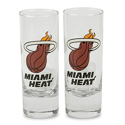 Miami Glass Heat - Boelter NBA Color Team Logo 2oz Cordial Shot Glass 2-Pack (Miami Heat)