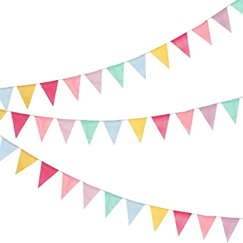 Shappy 18 Flags Imitated Burlap Pennant Banner Multicolor Fabric Triangle Flag Bunting for Party Hanging Decoration