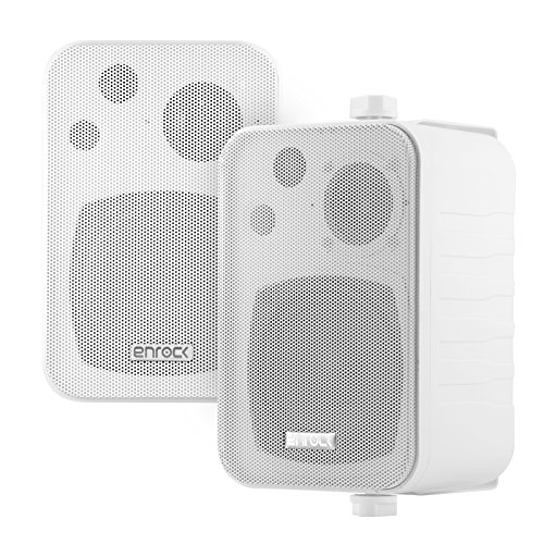 Pair of Enrock Audio Systems 4-Inch 200 Watts 3-Way Indoor/Outdoor Enclosed Box Speaker System - Marine Grade - White Color - EKMR408W