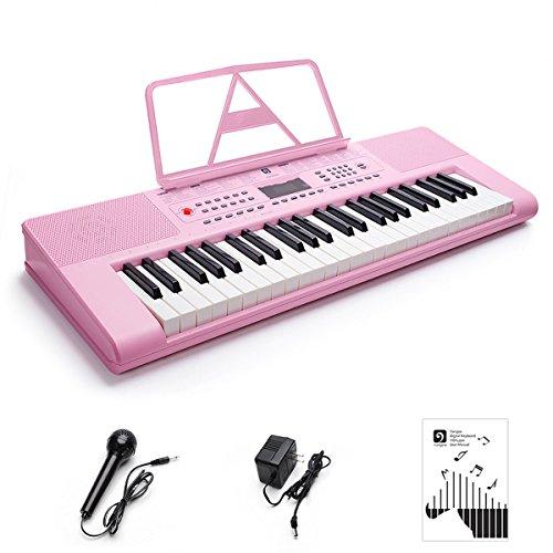 Vangoa VGK4900 49 Key Electronic Piano Keyboard, LCD Display Screen with Mic & Power Adapter, Pink by Vangoa
