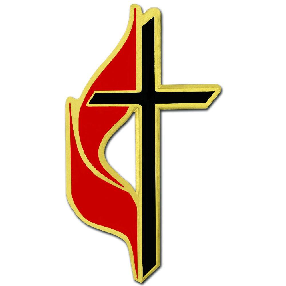 PinMart's Methodist Cross Religious Enamel Lapel Pin