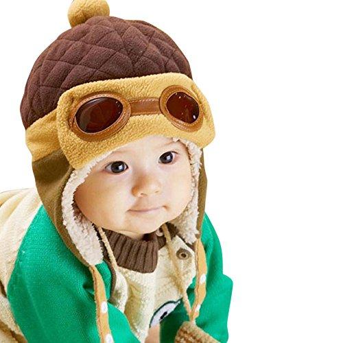 Baby Girls Boys Hats Winter Warm Cap Hat Beanie Pilot Aviator Crochet Earflap (Coffee)
