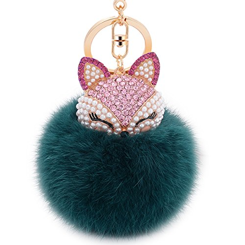 Boseen Pom Pom Fur Ball Keychain - Real Rabbit Fur with Artificial Fox Head Inlay Pearl Rhinestone Key Chain for Womens Bag or Cellphone or Car Pendant (Dark Green)