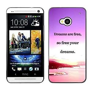 TopCaseStore / la caja del caucho duro de la cubierta de protección de la piel - Dreams Ocean Purple Pink Sunset - HTC One M7