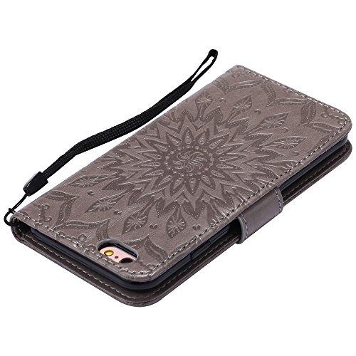 NEXCURIO iPhone 6S/iPhone 6 Hülle Leder, Handyhülle Tasche Leder Flip Case Brieftasche Etui mit Kartenfach Stoßfest Kratzfest Schutzhülle für Apple iPhone6S/iPhone6 (4,7 Zoll) - EKTU101059 Grün Grau