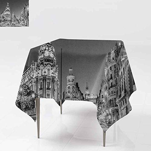 AndyTours Waterproof Table Cover,Black and White,Madrid City at Nighttime in Spain Main Street Ancient Architecture,Party Decorations Table Cover Cloth,70x70 Inch Black White Grey (Patio Cover Madrid)