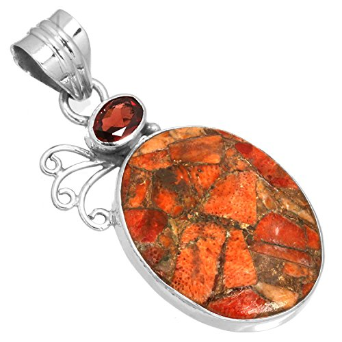 - Natural Copper Sponge Coral Gemstone Pendant Solid 925 Sterling Silver Handcrafted Jewelry