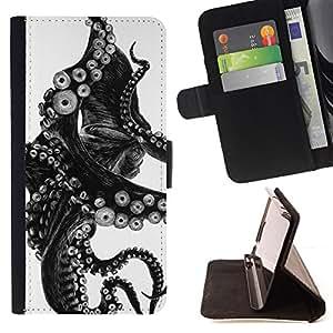 - Octopus Black White Photo Tentacle Monster - - Prima caja de la PU billetera de cuero con ranuras para tarjetas, efectivo desmontable correa para l Funny HouseFOR Sony Xperia Z1 L39