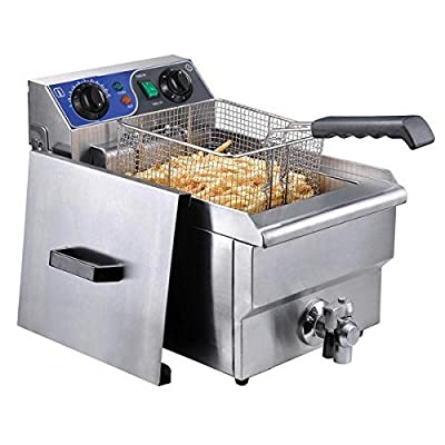10L Commercial Stainless Steel Electric Deep Fryer w/ Drain