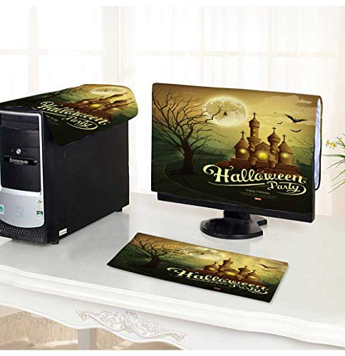 PRUNUS Computer Three-Piece dust Cover Happy Halloween Party Castles with Message,bat,Silhouette Tree,Moon Protect Your Computer /32