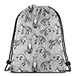 """Fox Woodland Forest Hand-drawn Illustration Cute Foxes For Nursery Baby Kids Prints_24169 3D Print Drawstring Backpack Rucksack Shoulder Bags Gym Bag for Adult 16.9""""x14"""""""