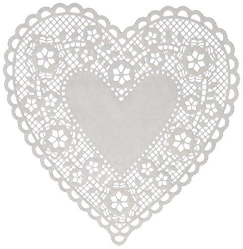 Hygloss Products Heart Paper Doilies – 8 Inch White Lace Doily for Decorations, Crafts, Parties, 100 Pack by Hygloss