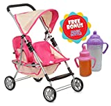Exquisite Buggy, My First Doll Twin Stroller Soft Pink & Off-White Design With 2 FREE Magic Bottles Included