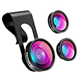 VicTsing 3 in 1 Fisheye Camera Lens, Macro Lens, 0.65X Wide Angle Lens, Clip on Cell Phone Lens Kits for iPhone 8, iPhone 7, 6s, 6, 5s , Android and Most Phones
