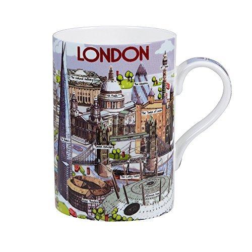 James Sadler Fine Bone China Highlights of London Mug, Multi-Colour by James Sadler