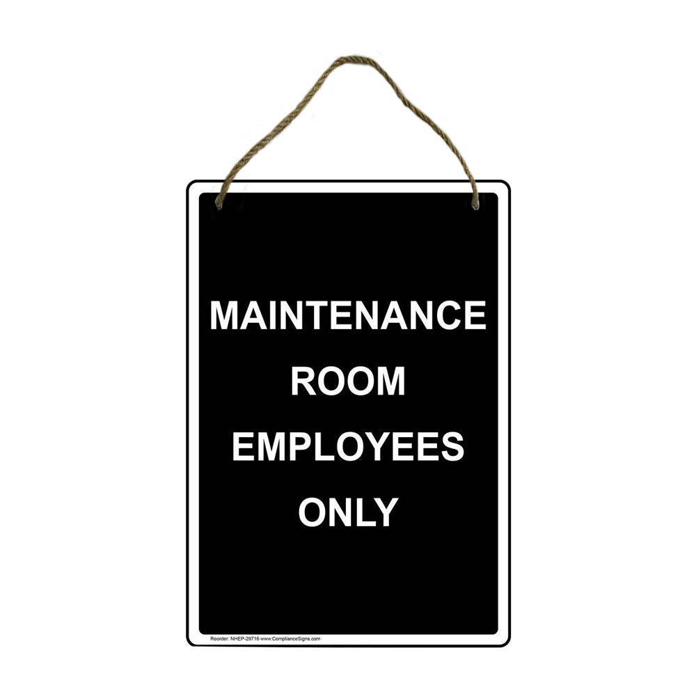 Black Rupert Gibsona Vertical Maintenance Room Employees Only Wood Sign 20x30cm with English Text