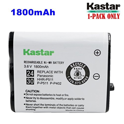 (Kastar HHR-P511 / HHR-P402 Battery (1-Pack), Type 24 / 30 NI-MH Rechargeable Cordless Telephone Battery 3.6V 1800mAh, Replacement for Panasonic HHR-P511, HHR-P402, P-P511, P-P511A, HHR-P402A)