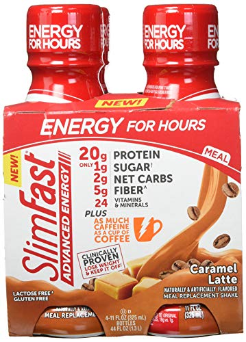 SlimFast Advanced Energy Caramel Latte Shake - Ready to Drink Meal Replacement - 20g of Protein, 11 fl oz. Bottle - 12Count ()
