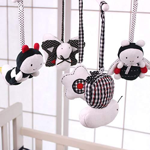 White /& Black SANHE YIKEYIFAN TOY CO SHILOH Baby Infant Crib Stroller Mobile Hanging Rattles Set 5 PCS LTD