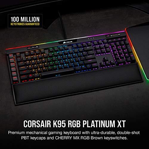 Corsair K95 RGB Platinum XT Mechanical Gaming Keyboard, Backlit RGB LED, Cherry MX RGB Brown, Black