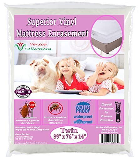 v Superior Extra Heavy 8 Gauge Vinyl Mattress Protector Zippered Encasement Cover 100% Waterproof & Bed-Bug Proof Twin